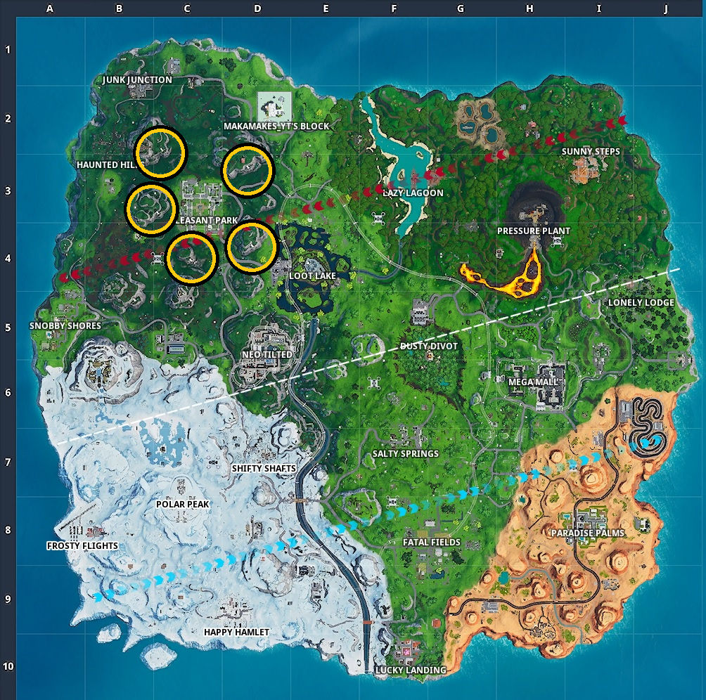All the turbine locations circled on the map in Fortnite.