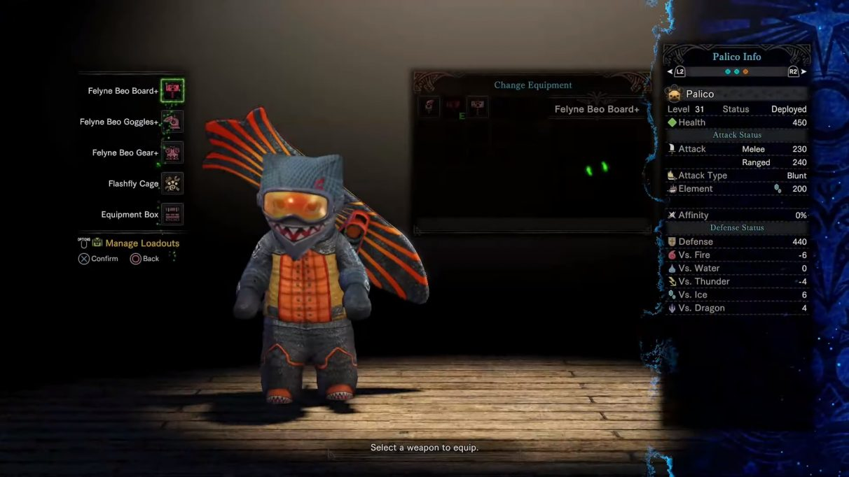 The Palico is equipped with what looks like a snowboard on its back.