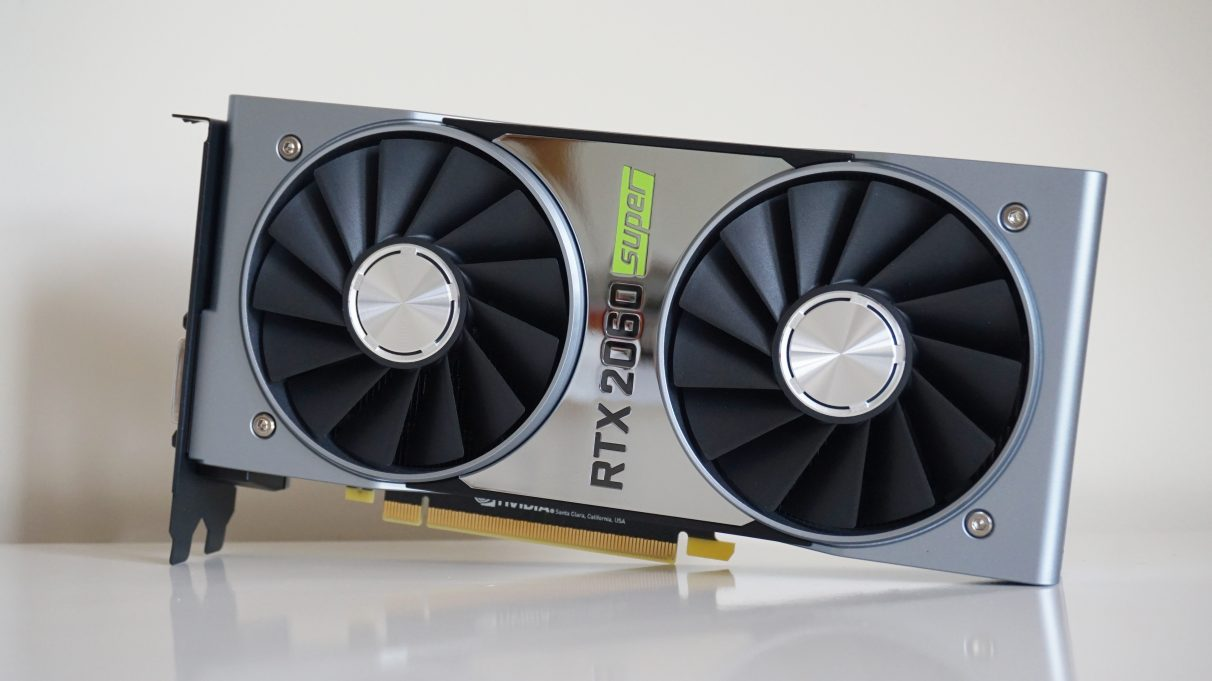 A photo of the Nvidia GeForce RTX 2060 Super Founders Edition graphics card.