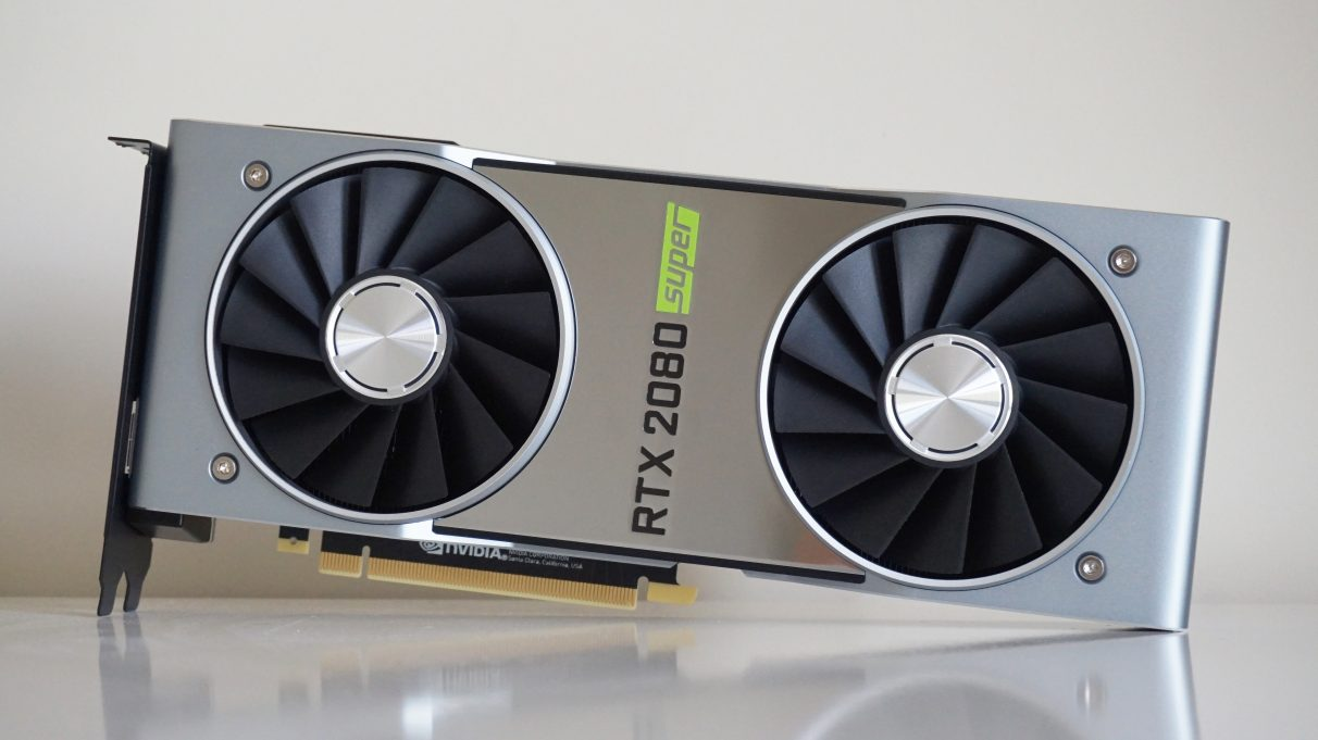 A photo of the Nvidia GeForce RTX 2080 Super Founders Edition graphics card.