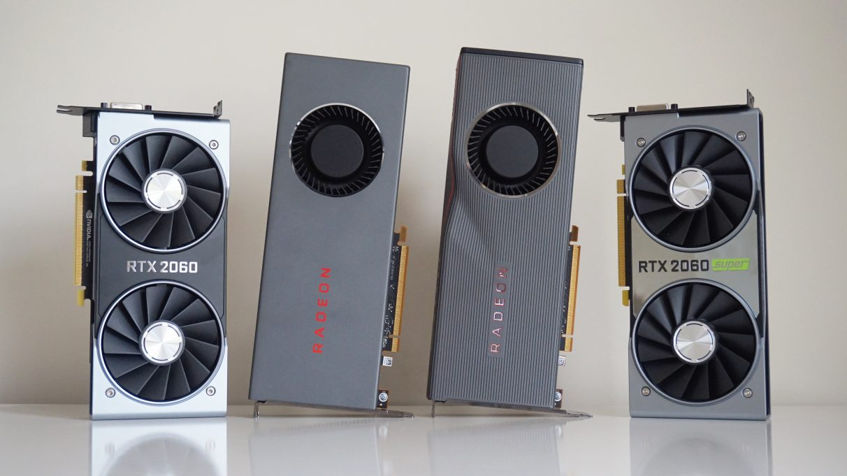 A photo showing the Nvidia RTX 2060, AMD RX 5700 and RX 5700 XT, and Nvidia RTX 2060 Super side by side on a table.