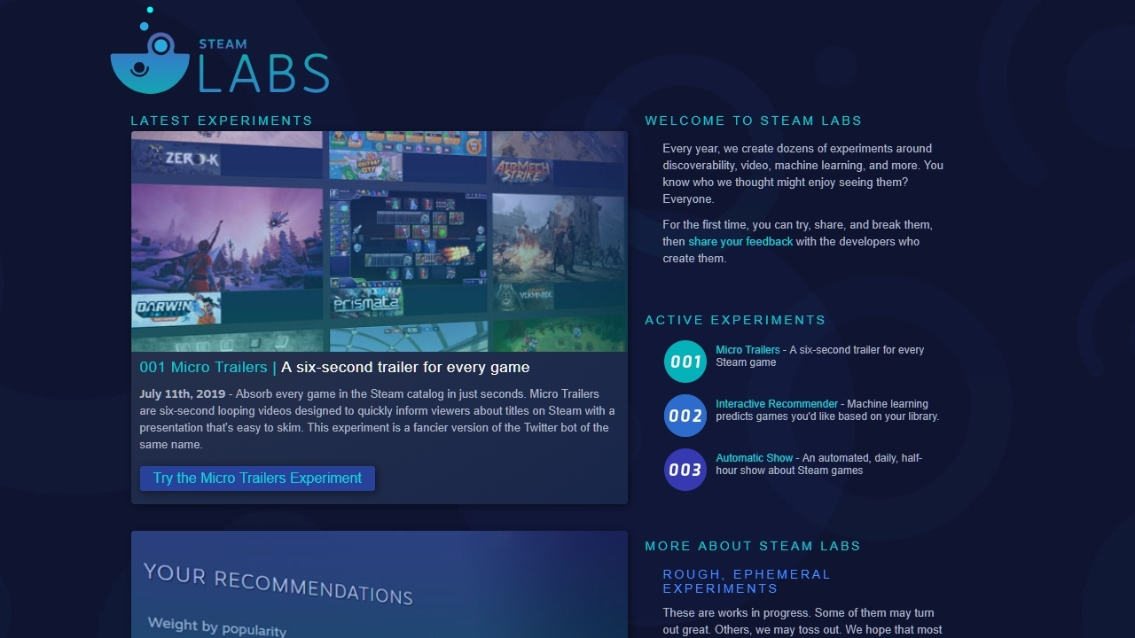 Steam Labs is Valve's public showcase of new Steam features | Rock