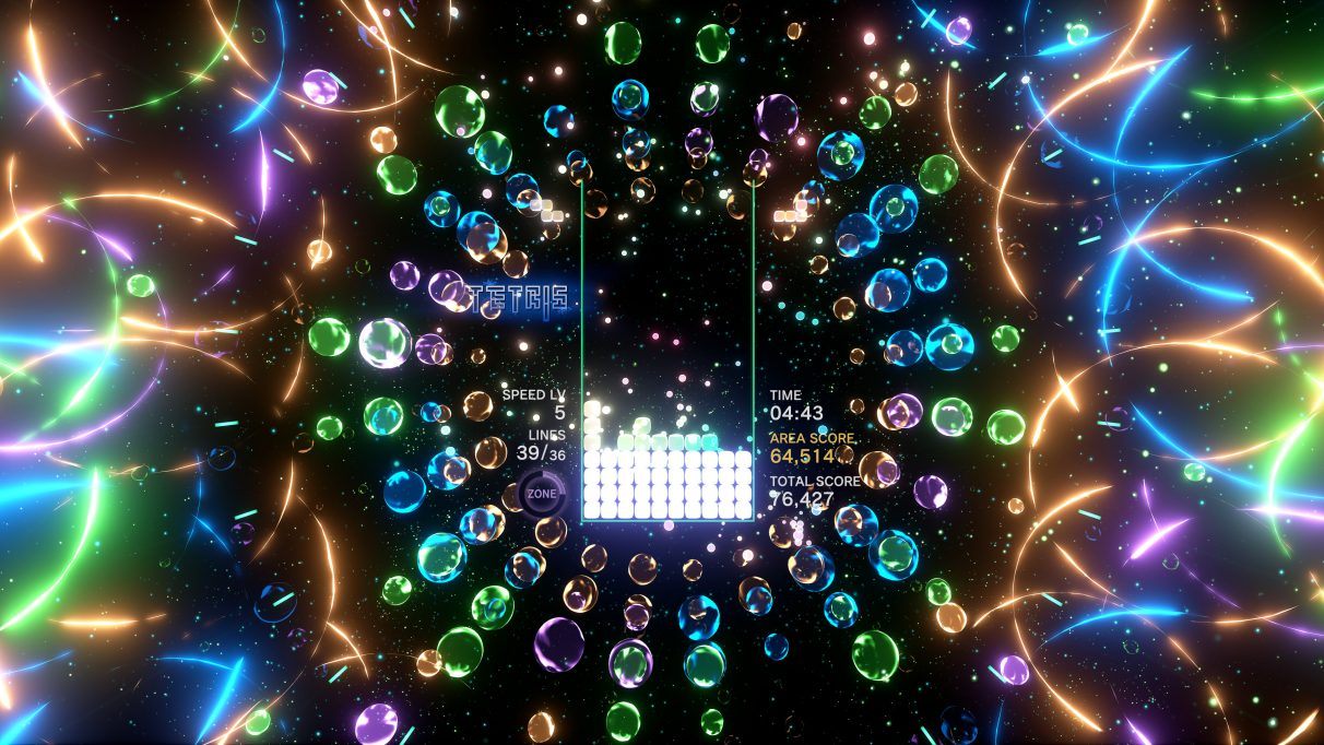 A screenshot of a psychedelic Tetris board in Tetris Effect,