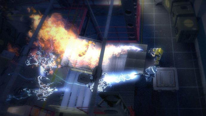 An image of two Alien Swarm characters spraying aliens with fire and electricity.