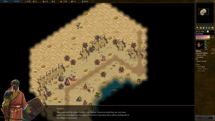 A desert scene in tactics game Battle For Wesnoth.