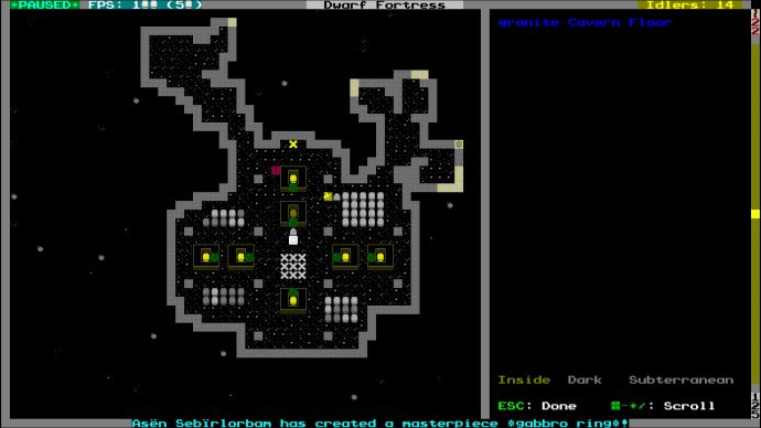 A small fort in Dwarf Fortress.