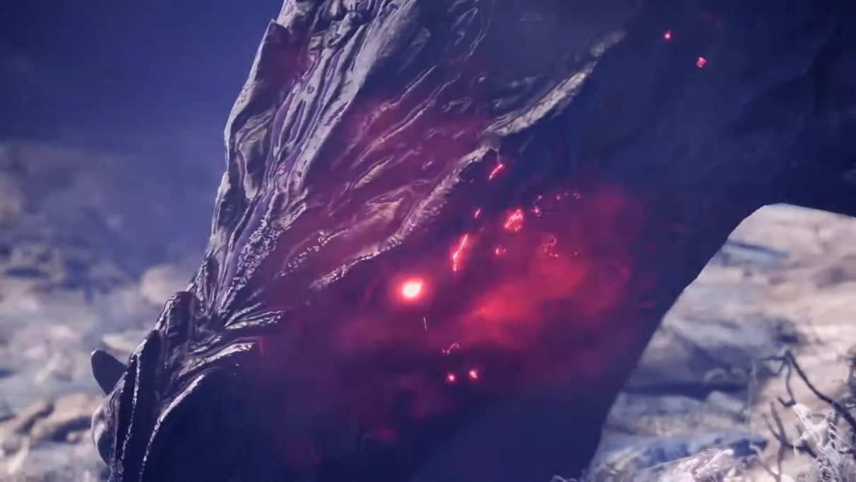 Ebony Odogaron sparking some sick red sparks from its maw. It looks evil.