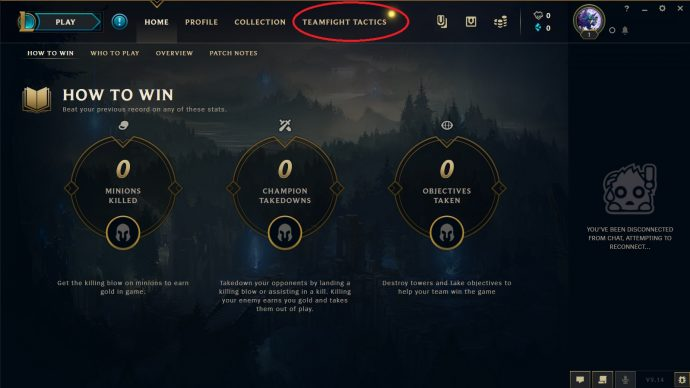 Teamfight tactics client with Teamfight Tactics mode circled in red.