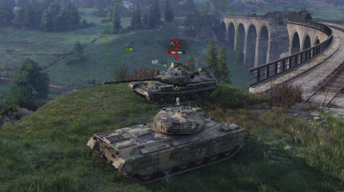 One tank looks at another atop a hill in World Of Tanks.