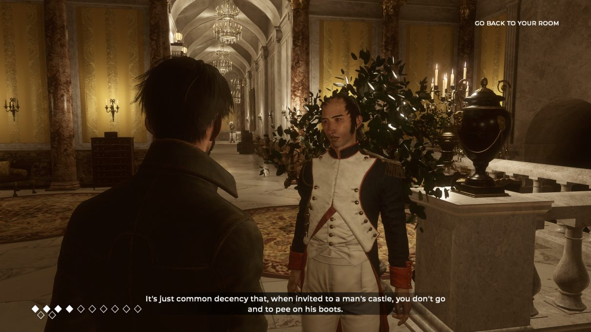 A screenshot of Napoleon talking to the protagonist from The Council