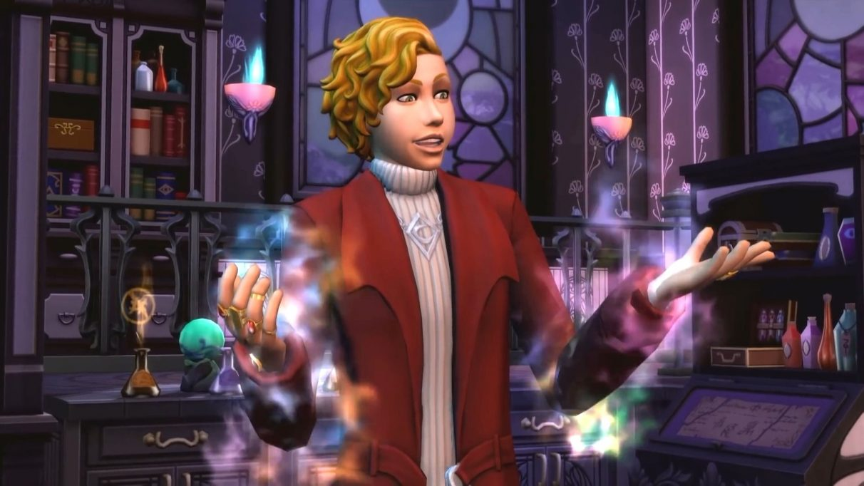 A screenshot from The Sims 4 DLC Realm of Magic, showing a Sim who is legally distinct from the Harry Potter character Newt Scamander standing in front of a cauldron doing some magic