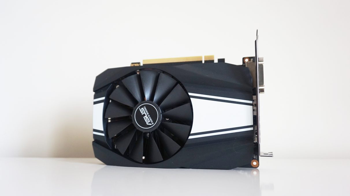 A photo of the Asus GeForce GTX 1660 Phoenix graphics card.