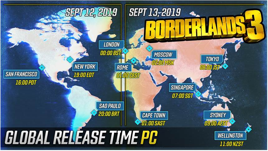 Borderlands 3 PC global release times
