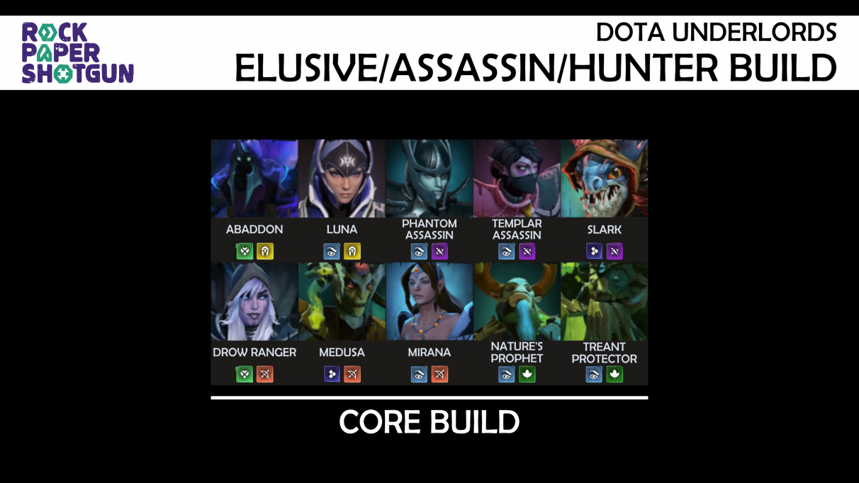 Dota Underlords builds - Elusive Assassin Hunter build