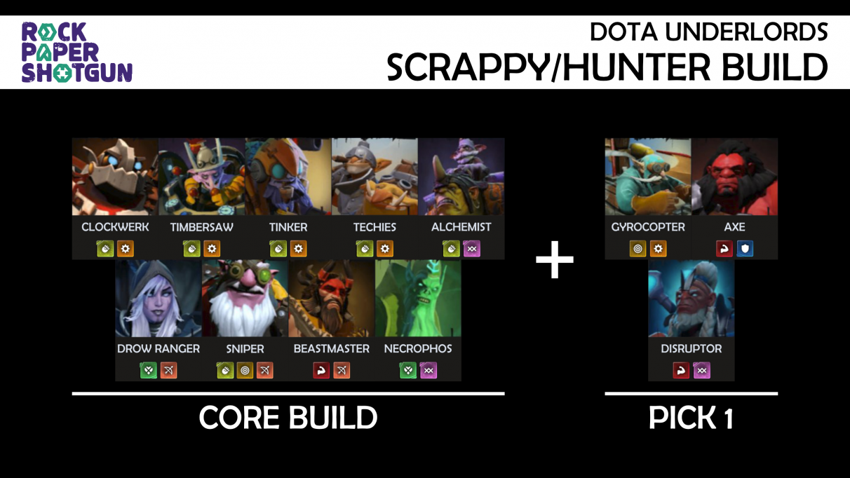 Dota Underlords builds - Scrappy Hunter build