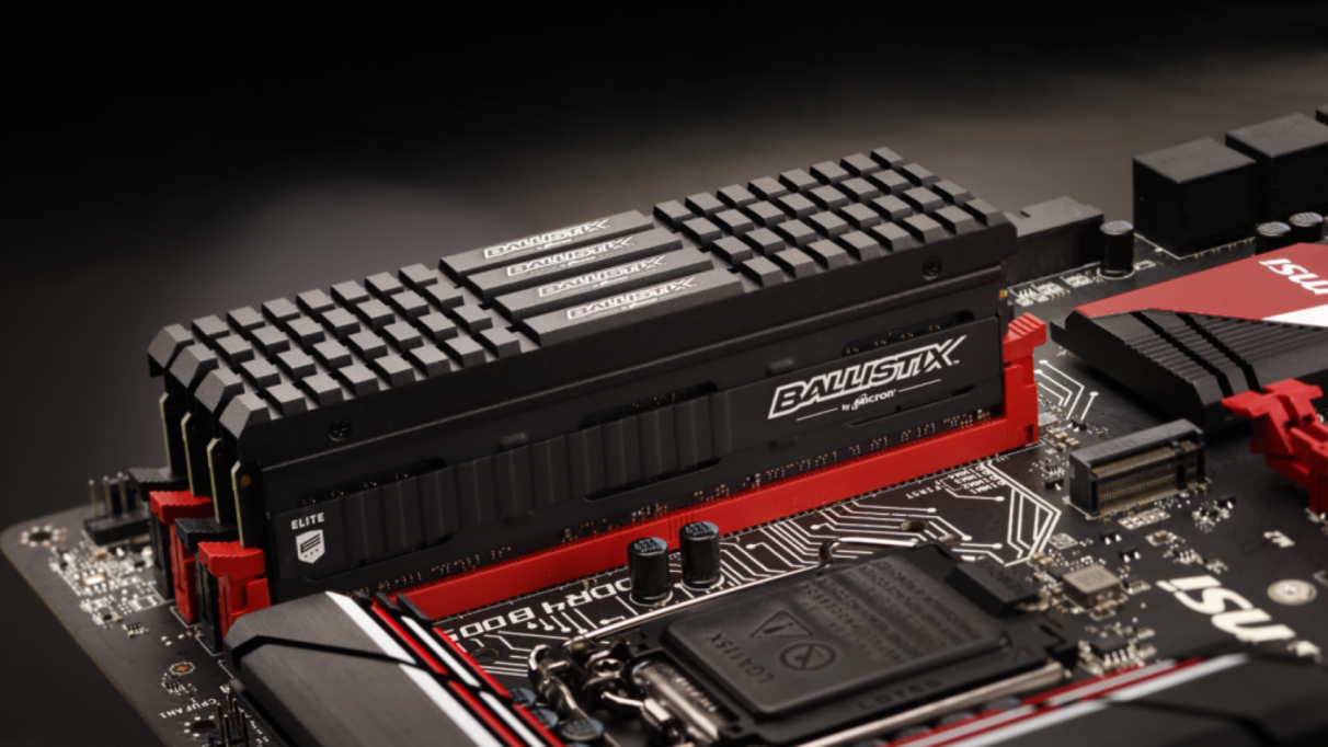 A photo of four Crucial Ballistix RAM sticks on a motherboard.