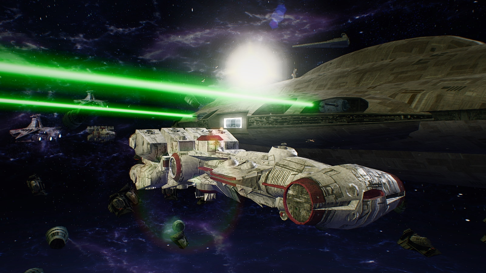 Space combat looks spiffy with the HD Remaster mod, too.