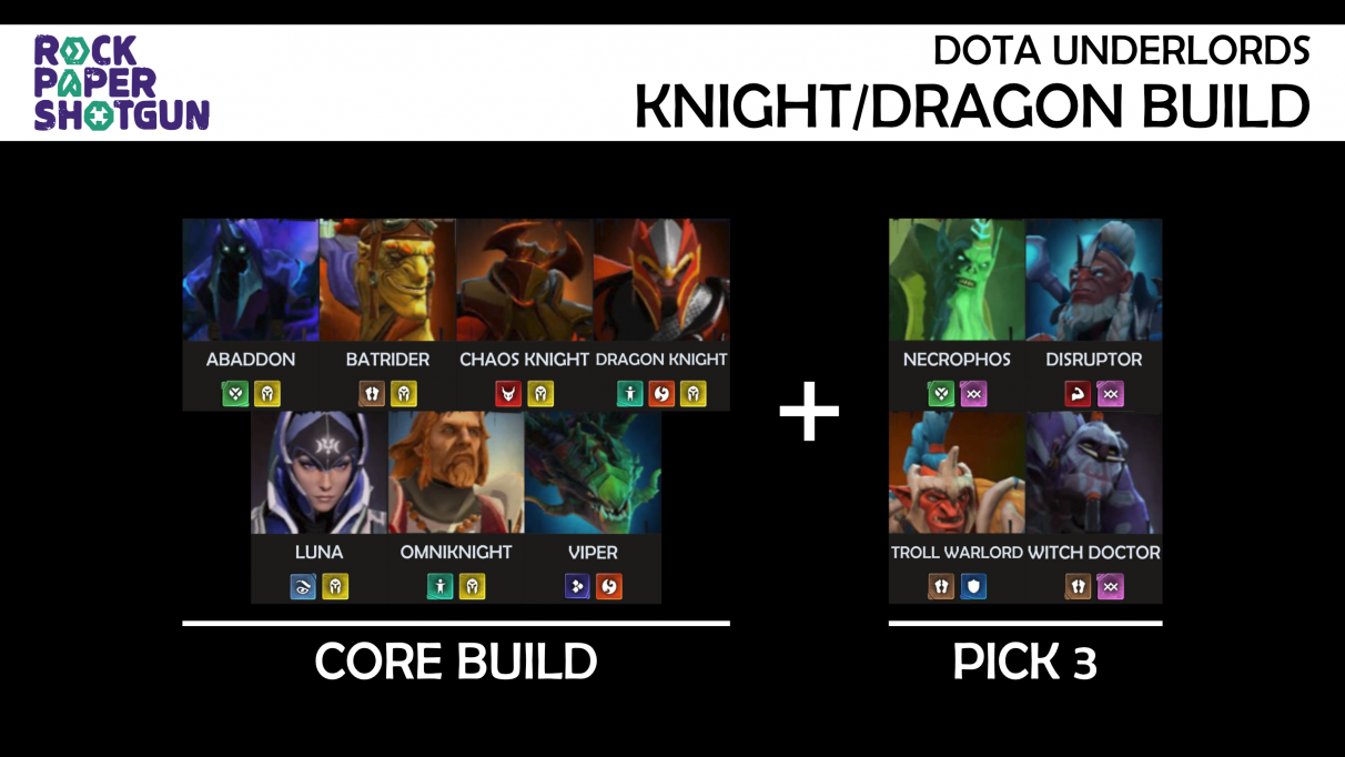 Dota Underlords builds - Knight Dragon build