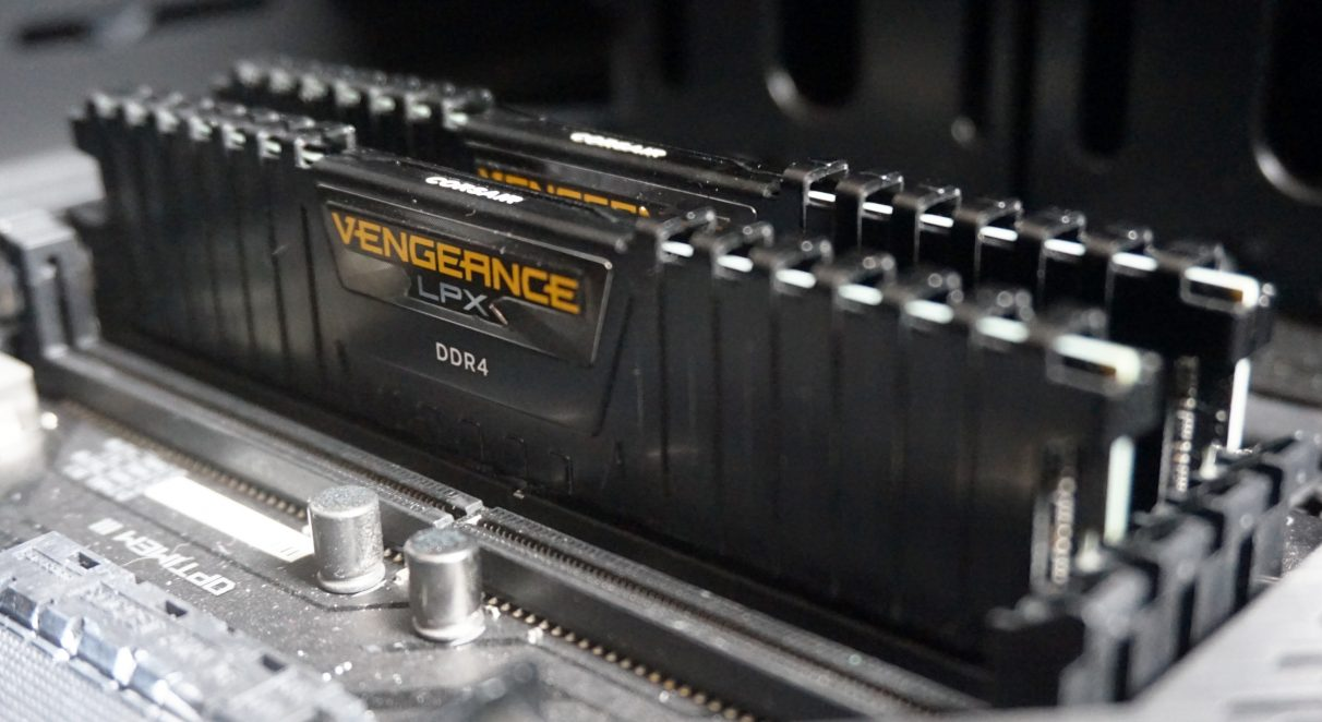 A photo of two Corsair Vengeance LPX RAM sticks inside a PC.