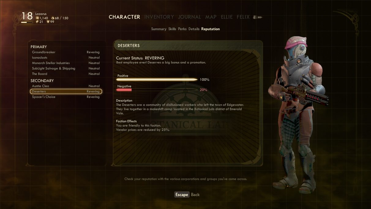 The Outer Worlds reputation