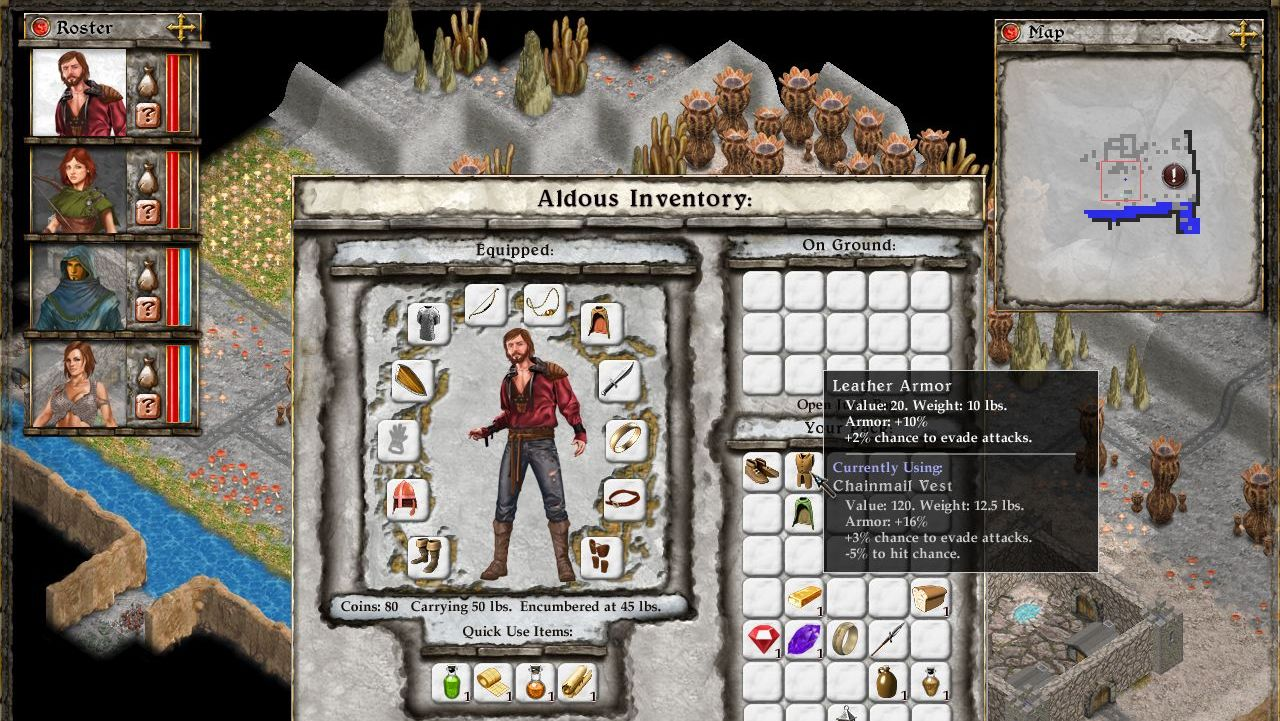 A screenshot showing Aldous' inventory in Avernum: Escape From The Pit.