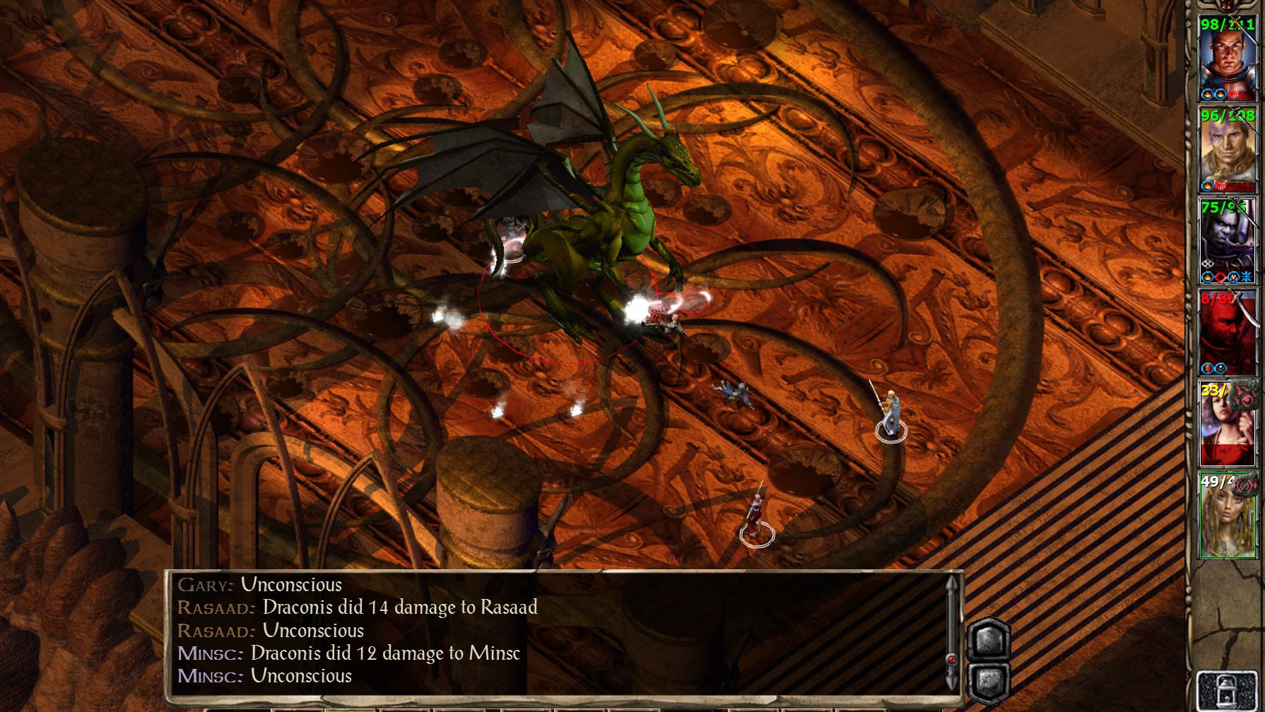 A screenshot of a dragon fighting your party in Baldur's Gate 2.
