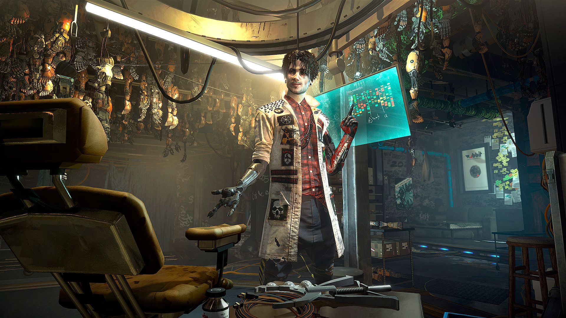 A screenshot of Vaclav, an underground augmentation specialist from Deus Ex: Mankind Divided.