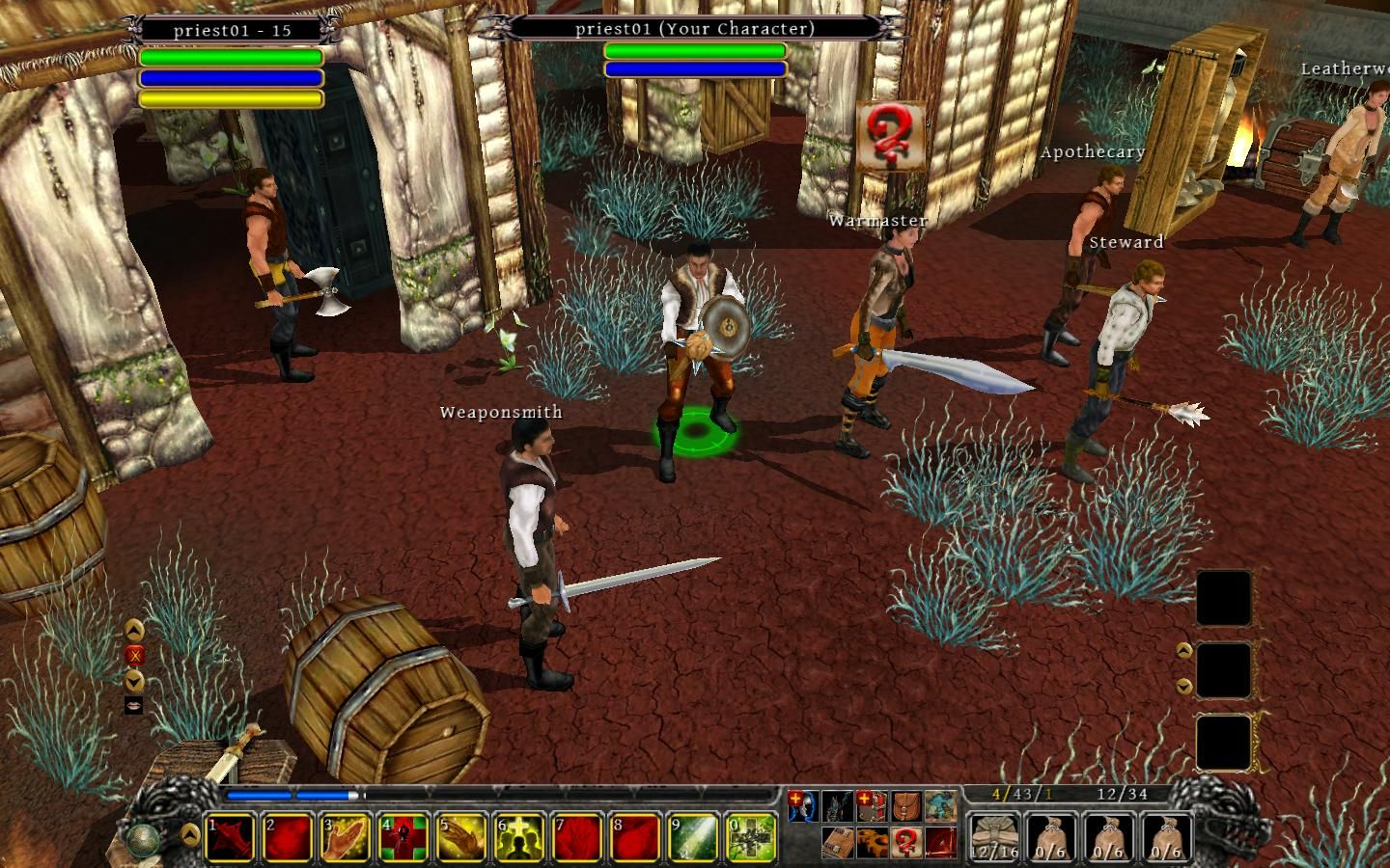 A screenshot of your character meeting the weaponsmith in Din's Curse.