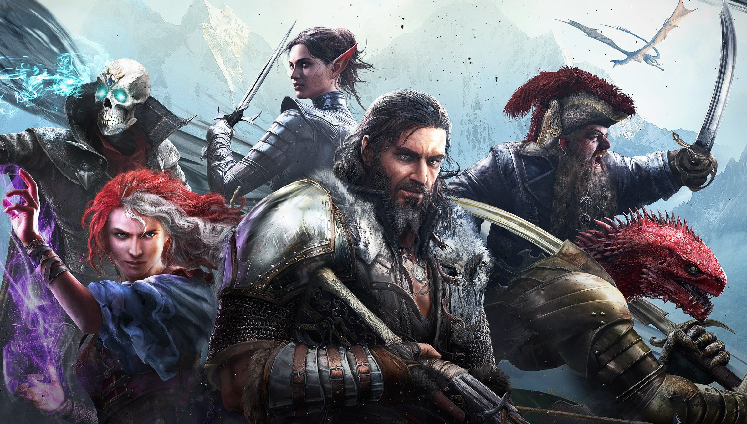 A screenshot of all the main characters from Divinity: Original Sin II.