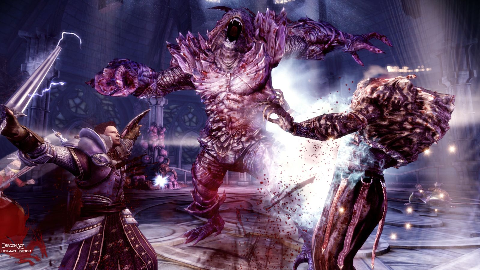 A screenshot of a huge fleshy monster roaring at your character in Dragon Age: Origins.