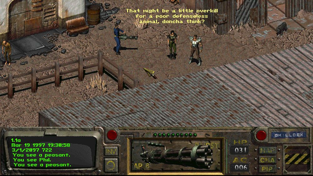 A screenshot of a confrontation in Fallout.