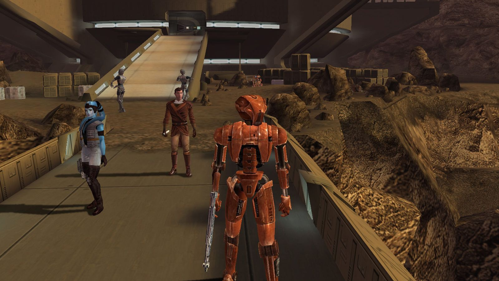 A screenshot of a star base in Star Wars: Knights Of The Old Republic.