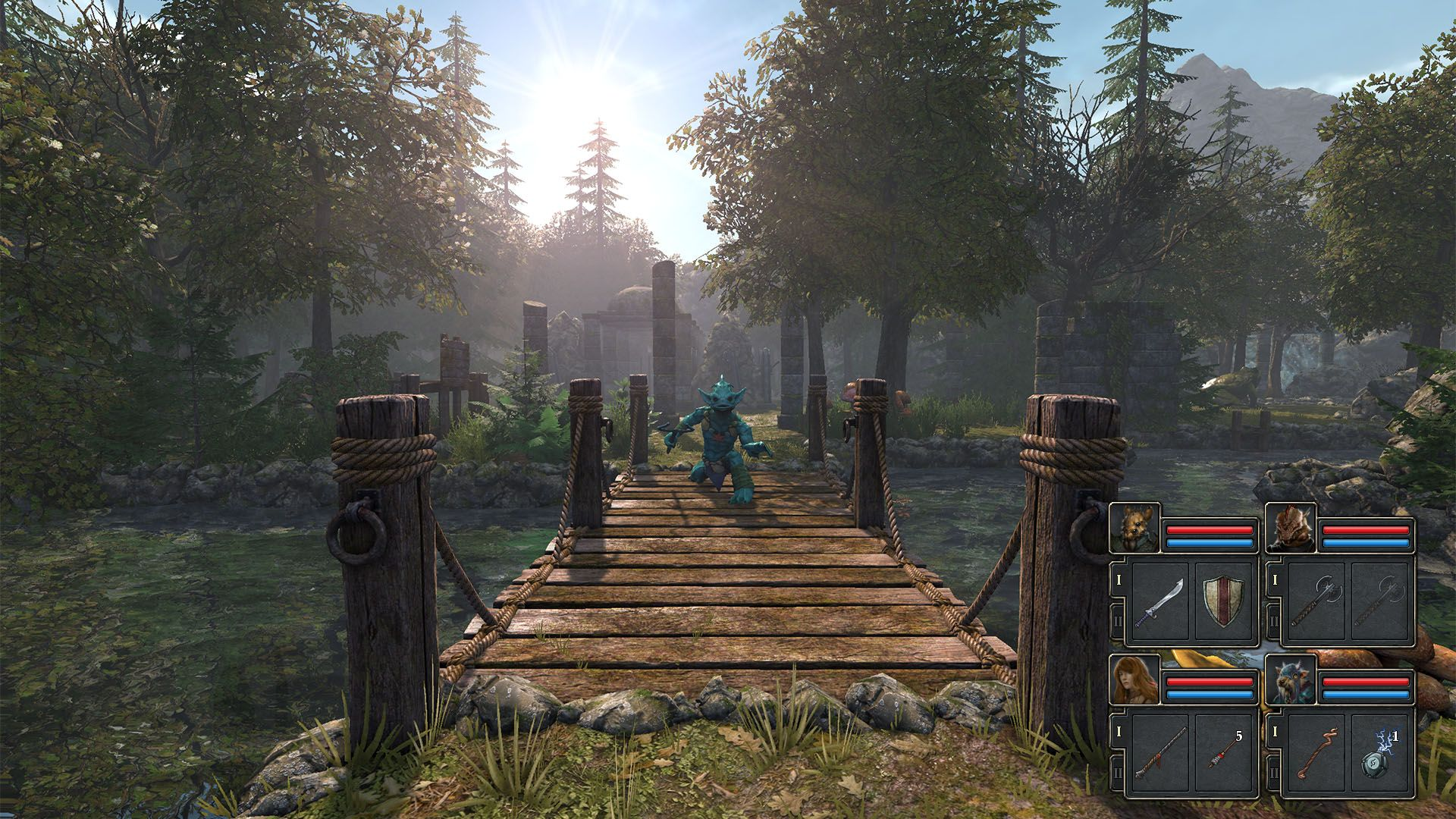 A screenshot showing a monster coming toward you on a bridge in Legend Of Grimrock 2.