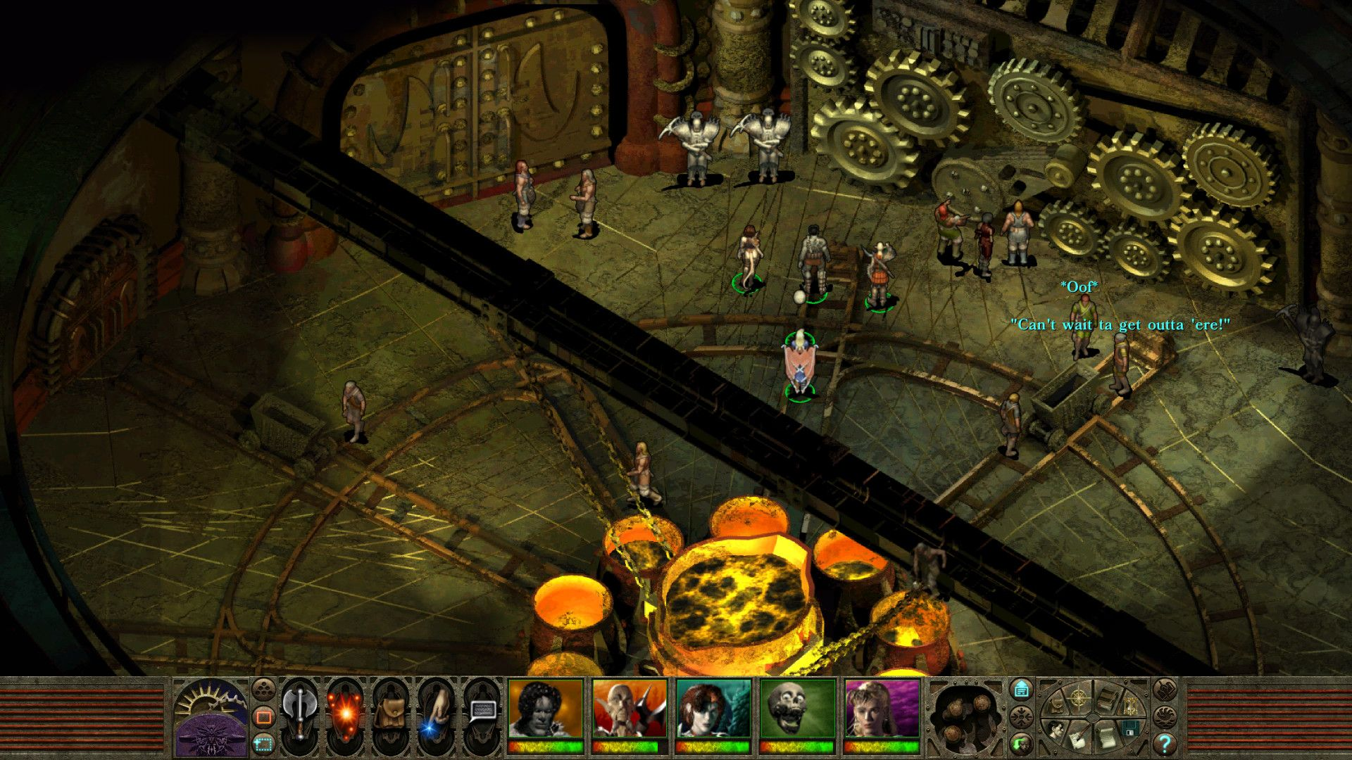 A screenshot of a large hall with lots of mechanical cogs on the wall in Planescape: Torment.