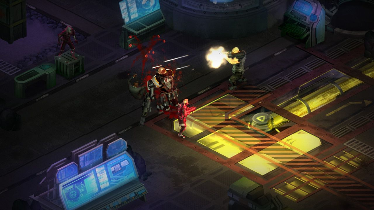 A screenshot showing a battle scene from Shadowrun: Dragonfall Director's Cut.