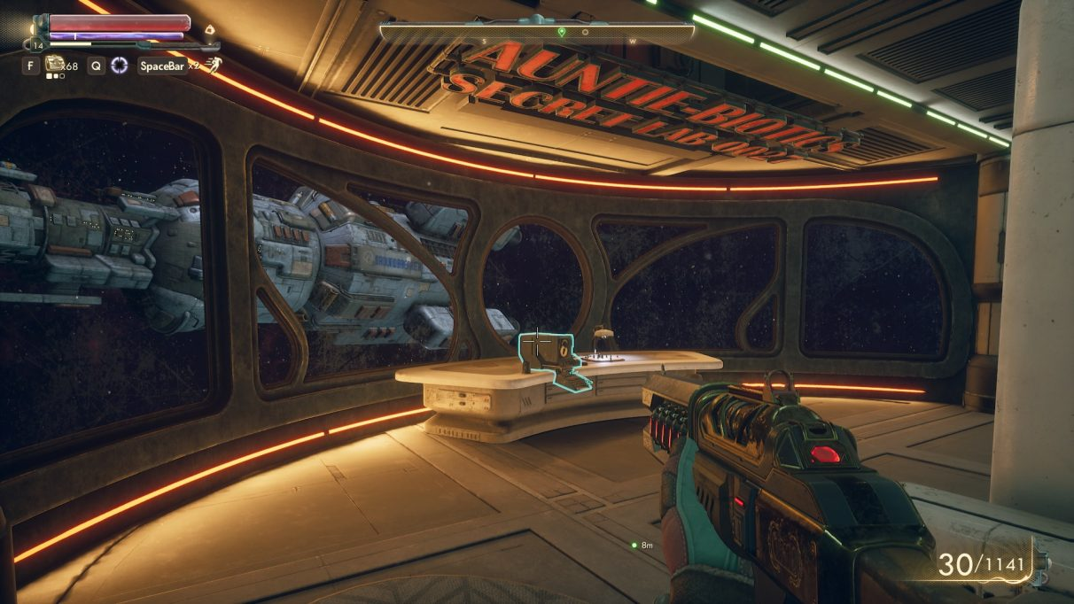The Outer Worlds Captain's Quarters on the Unreliable - Holographic Shroud appears next to the computer. In this image, it's already been collected.