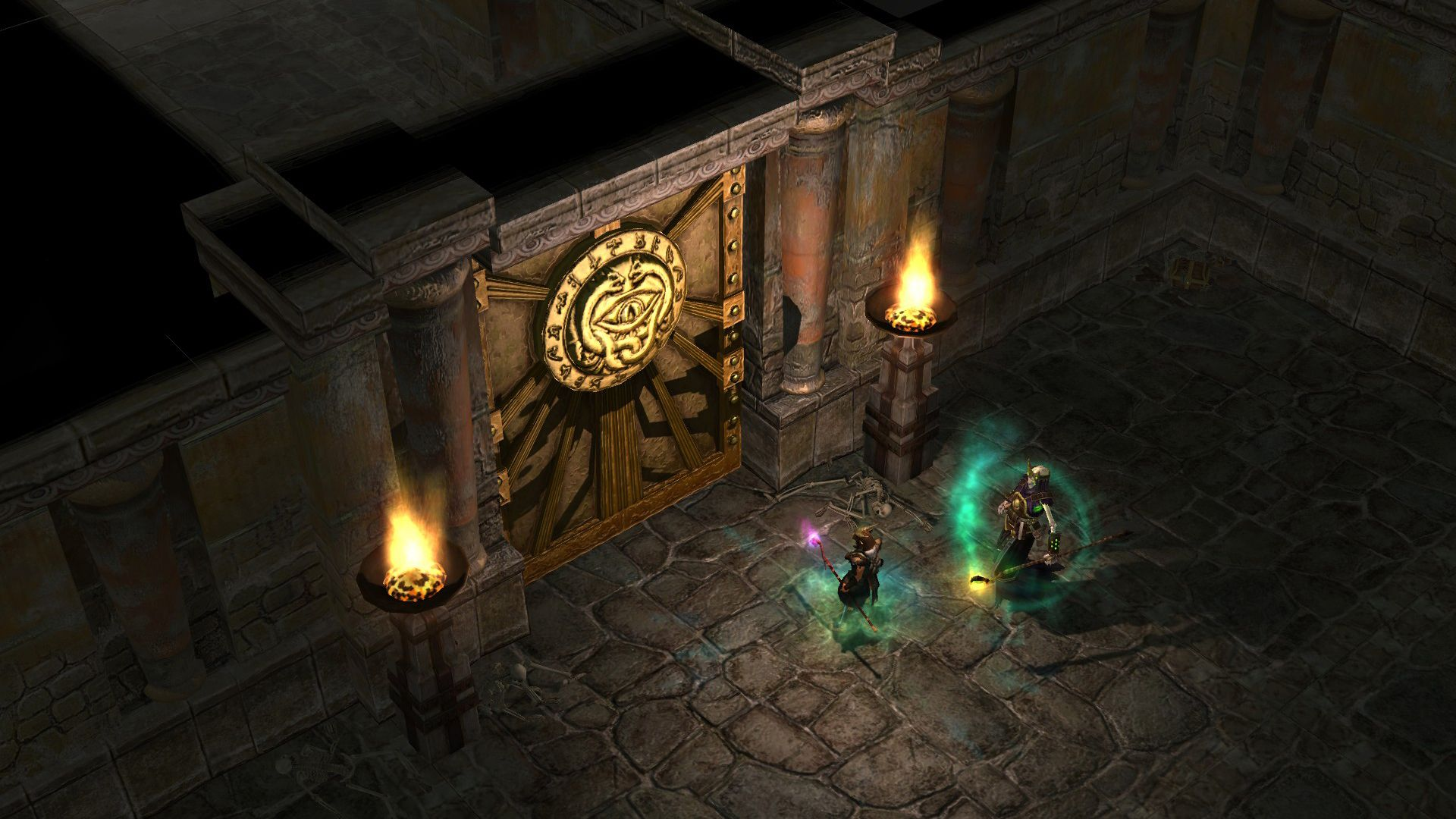 A screenshot showing two characters stuck behind a huge door in Titan Quest.