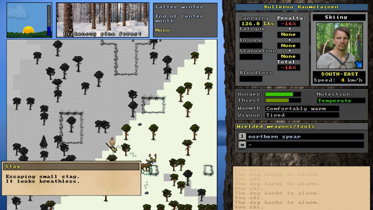 A screenshot of UnReal World, a complicated and old-fashioned survival game.