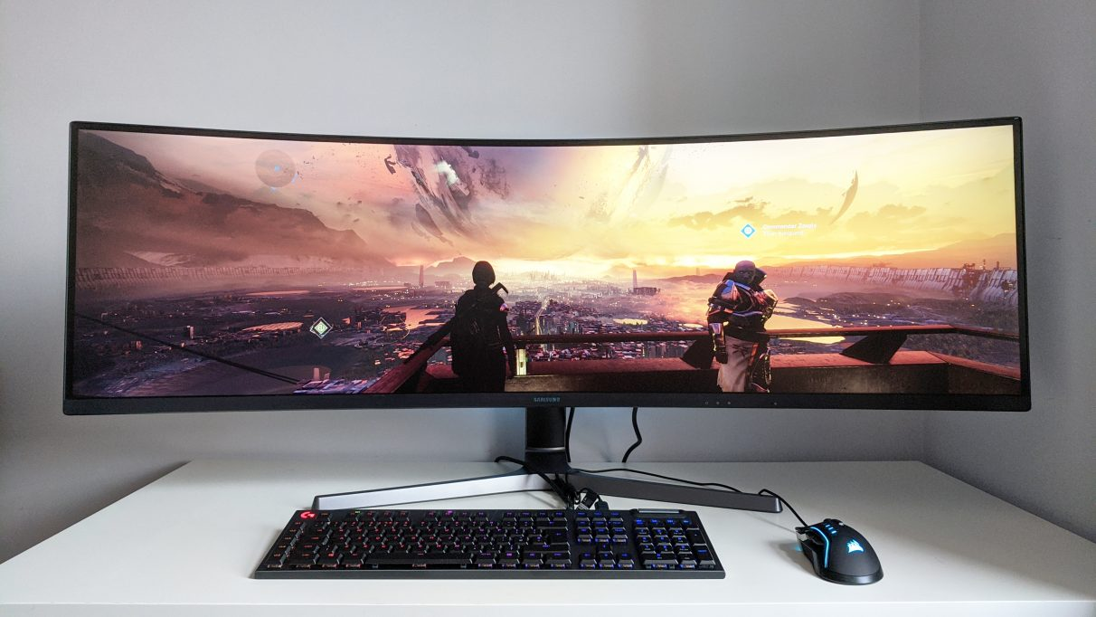 A photo of Destiny 2 running on an ultrawide monitor.
