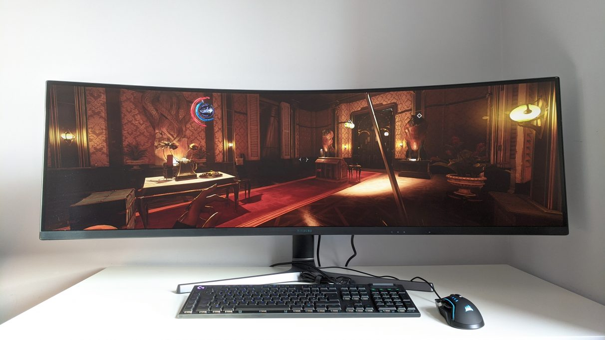 A photo of Dishonored 2 running on an ultrawide monitor.