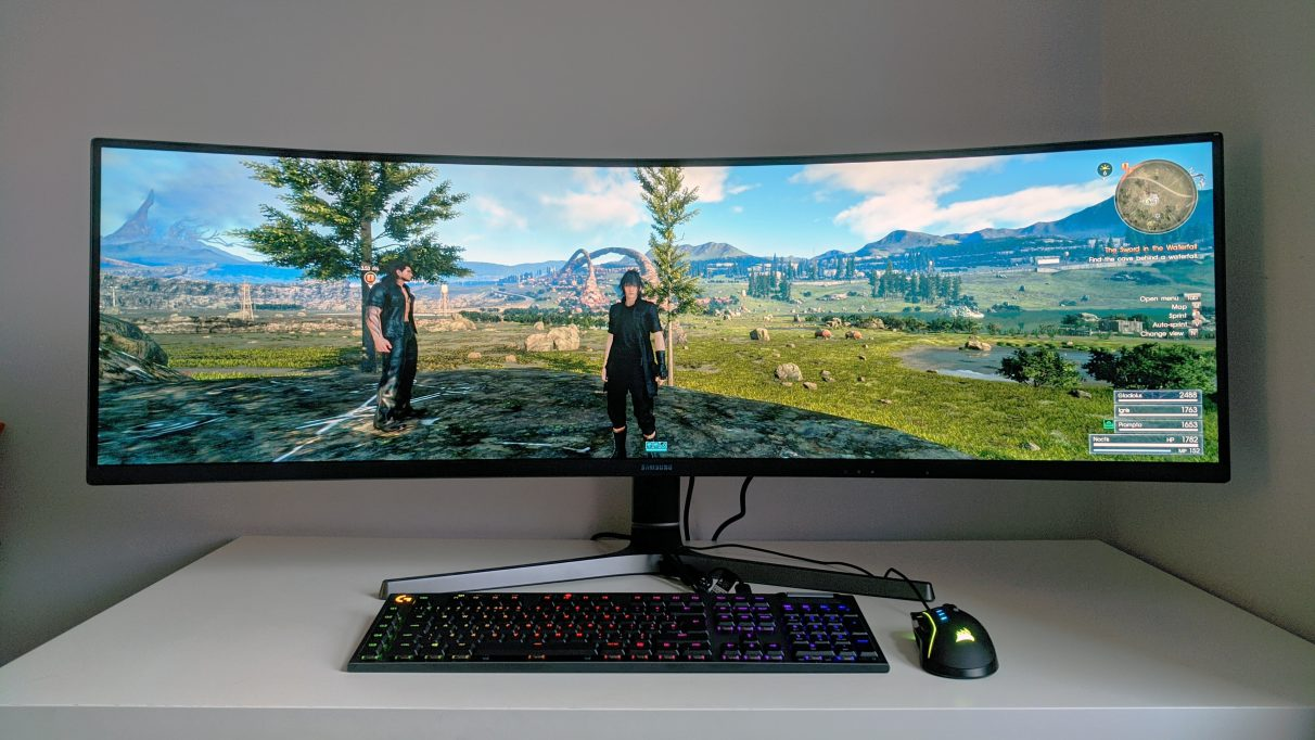 A photo of Final Fantasy XV running on an ultrawide monitor.