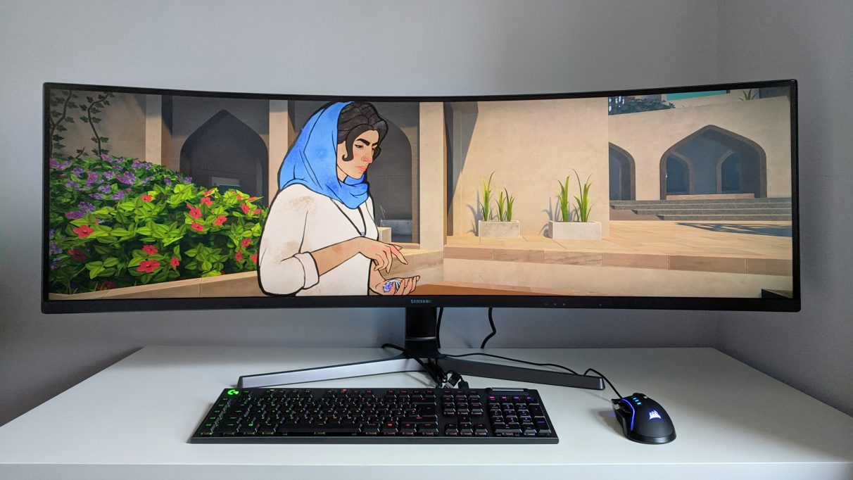 A photo of Heaven's Vault running on an ultrawide monitor.