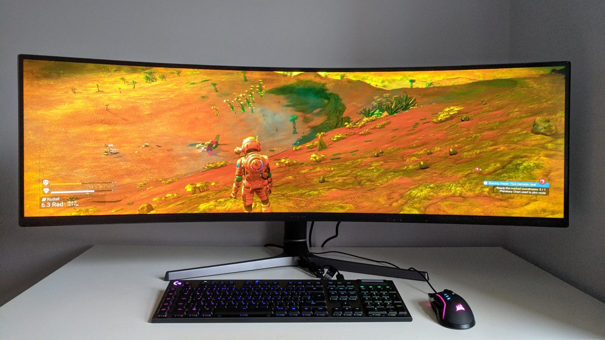 A photo of No Man's Sky running on an ultrawide monitor.