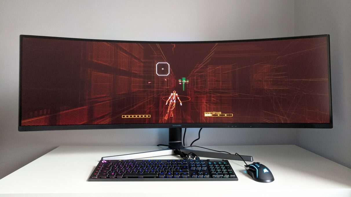 A photo of Rez Infinite running on an ultrawide monitor.