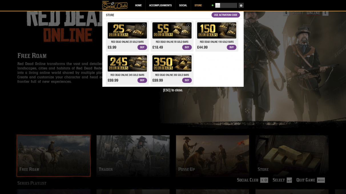 Red Dead Online Gold microtransactions