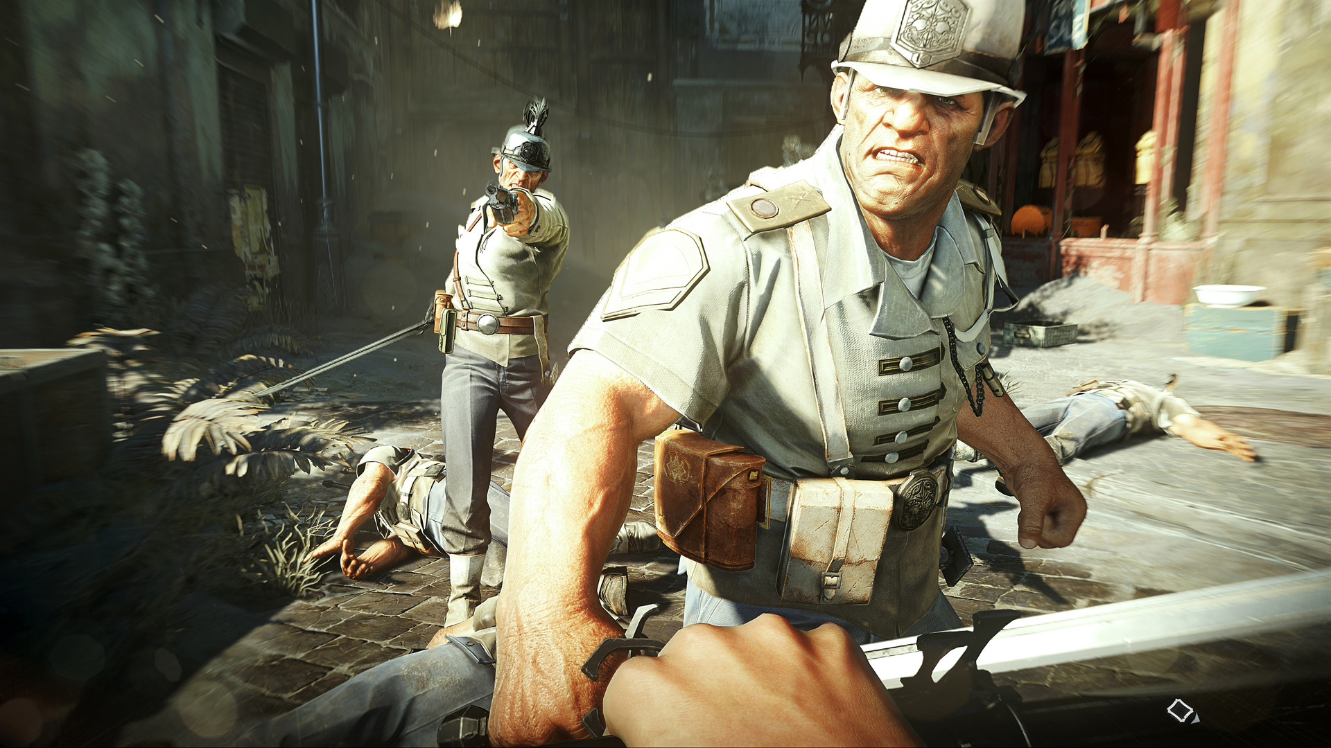 Two grizzled guards looking at the player in Dishonored 2 with some alarm. They appear to have been surprised by the player, who is holding a big stabby knife