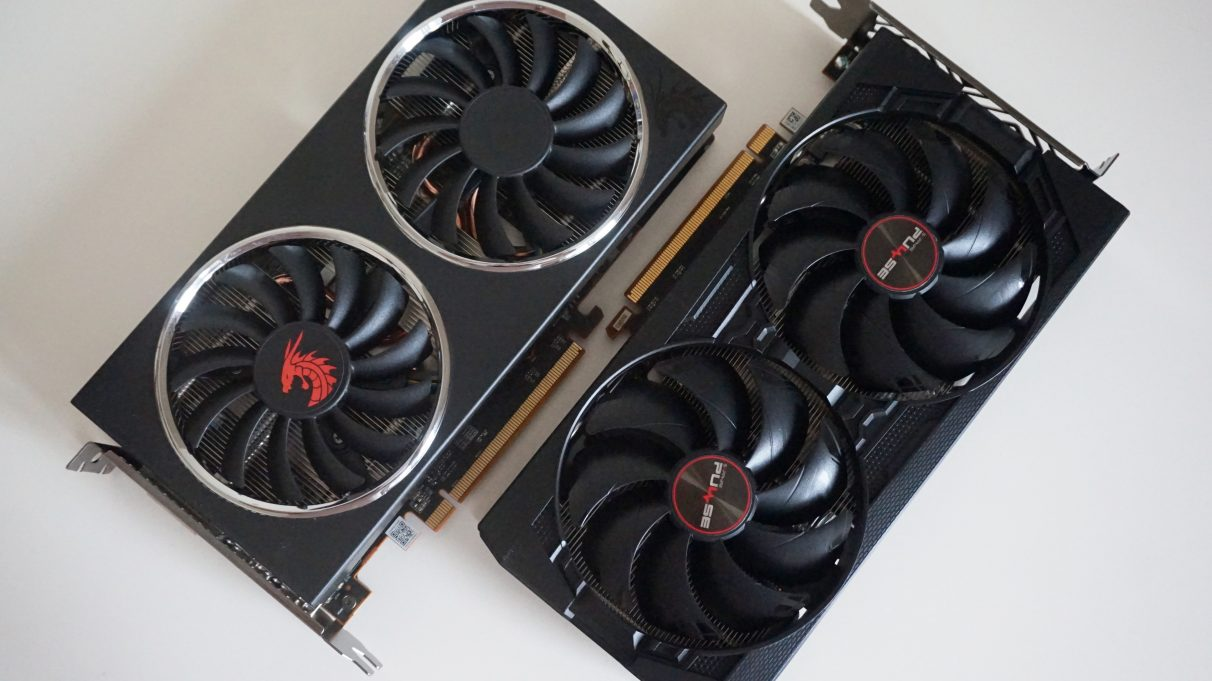 A photo of two AMD Radeon RX 5500 XT graphics cards