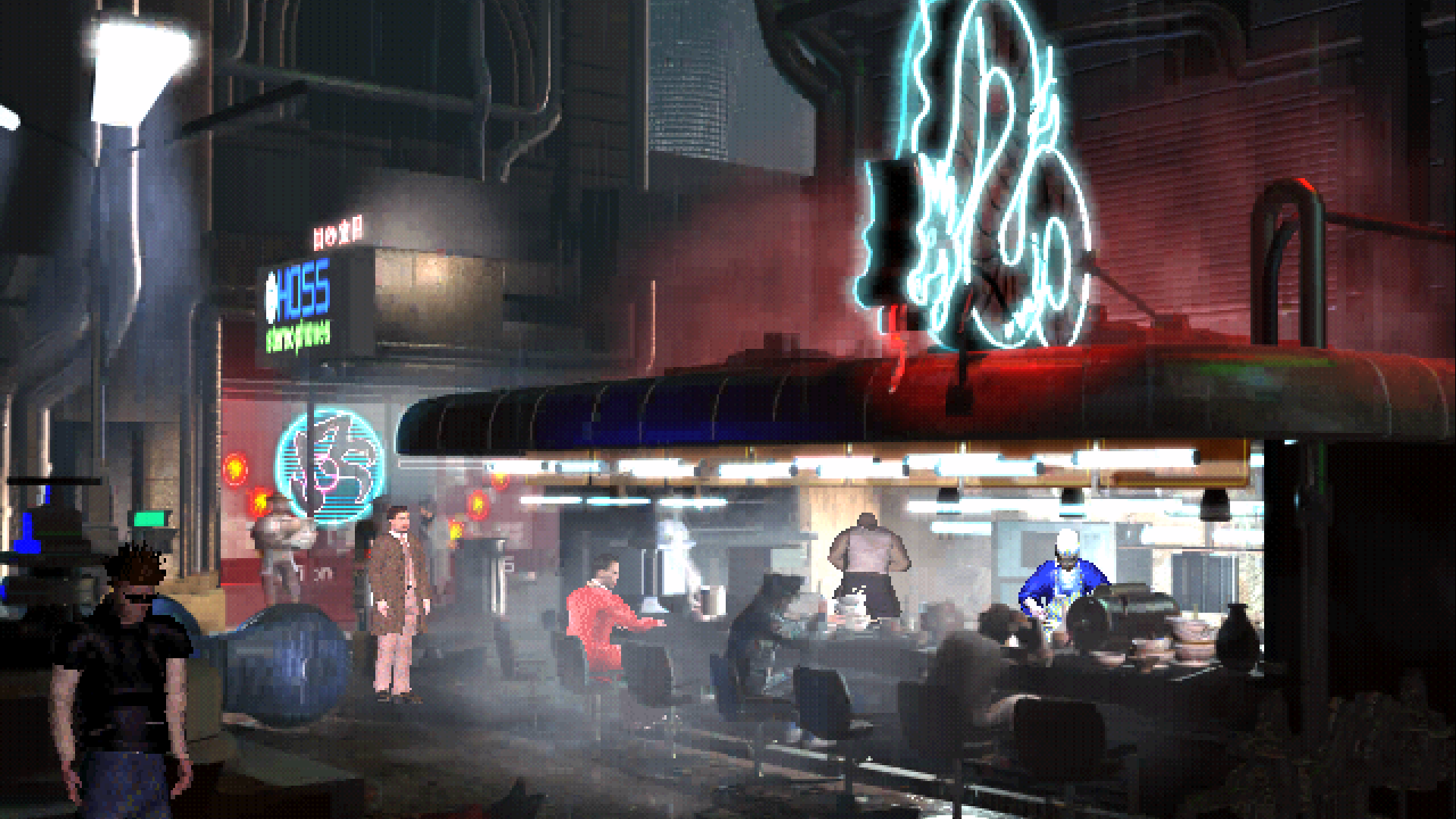 A screenshot of a late night noodle bar in Bladerunner