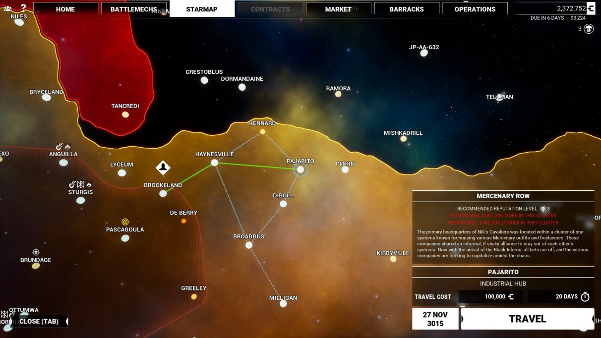 MechWarrior 5 Mercenaries - Starmap