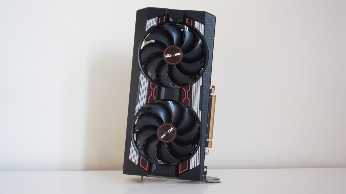 An upright photo of the AMD Radeon RX 5600 XT